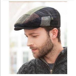 Men's paperboy wool patchwork hat made in Ireland